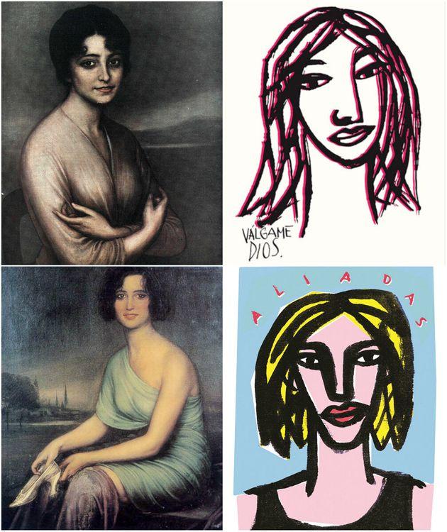 De izquierda a derecha y de arriba a abajo: 1. Retrato de la Señorita Julia Pacheco (1916) 2.Válgame...