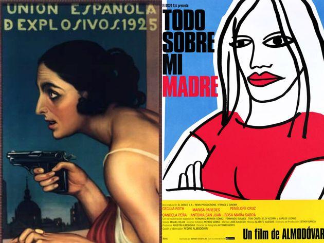 De izquierda a derecha: cartel publicitario de Julio Romero de Torres para 'Unión Española...