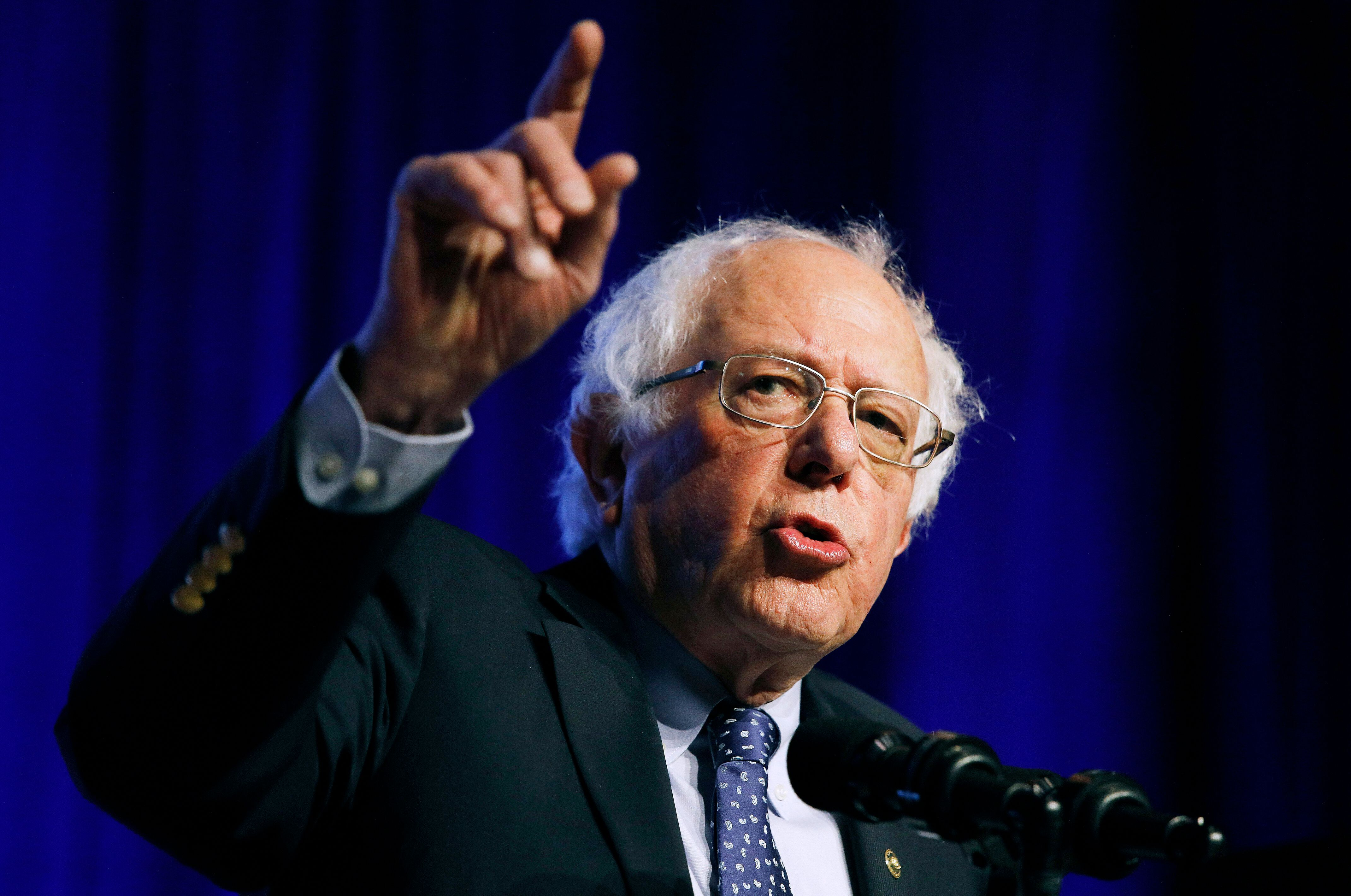 "FILE - In this Monday, April 8, 2019 file photo, Democratic presidential candidate Sen. Bernie Sanders, I-Vt., speaks at a convention of the International Association of Machinists and Aerospace Workers, in Las Vegas. Sanders is heading back to the friendly turf of Wisconsin for a rally that kicks off a swing through states that are key to the Democratic ""blue wall"" strategy for 2020. Sanders' event Friday, April 12, in Madison will be followed by weekend stops in Indiana, Ohio, Michigan and Pennsylvania. (AP Photo/John Locher, File)"
