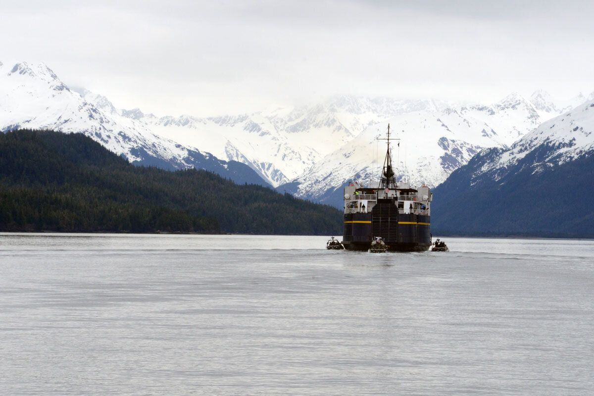 Multiple defense agencies simulate a terrorist situation aboard a ferry in Cordova, Alaska.