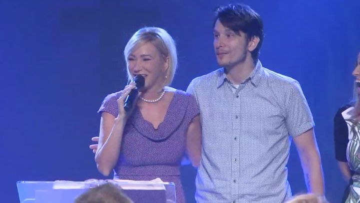 Paula White speaks at New Destiny Christian Center, which has been renamed City of Destiny, with her son, Bradley K
