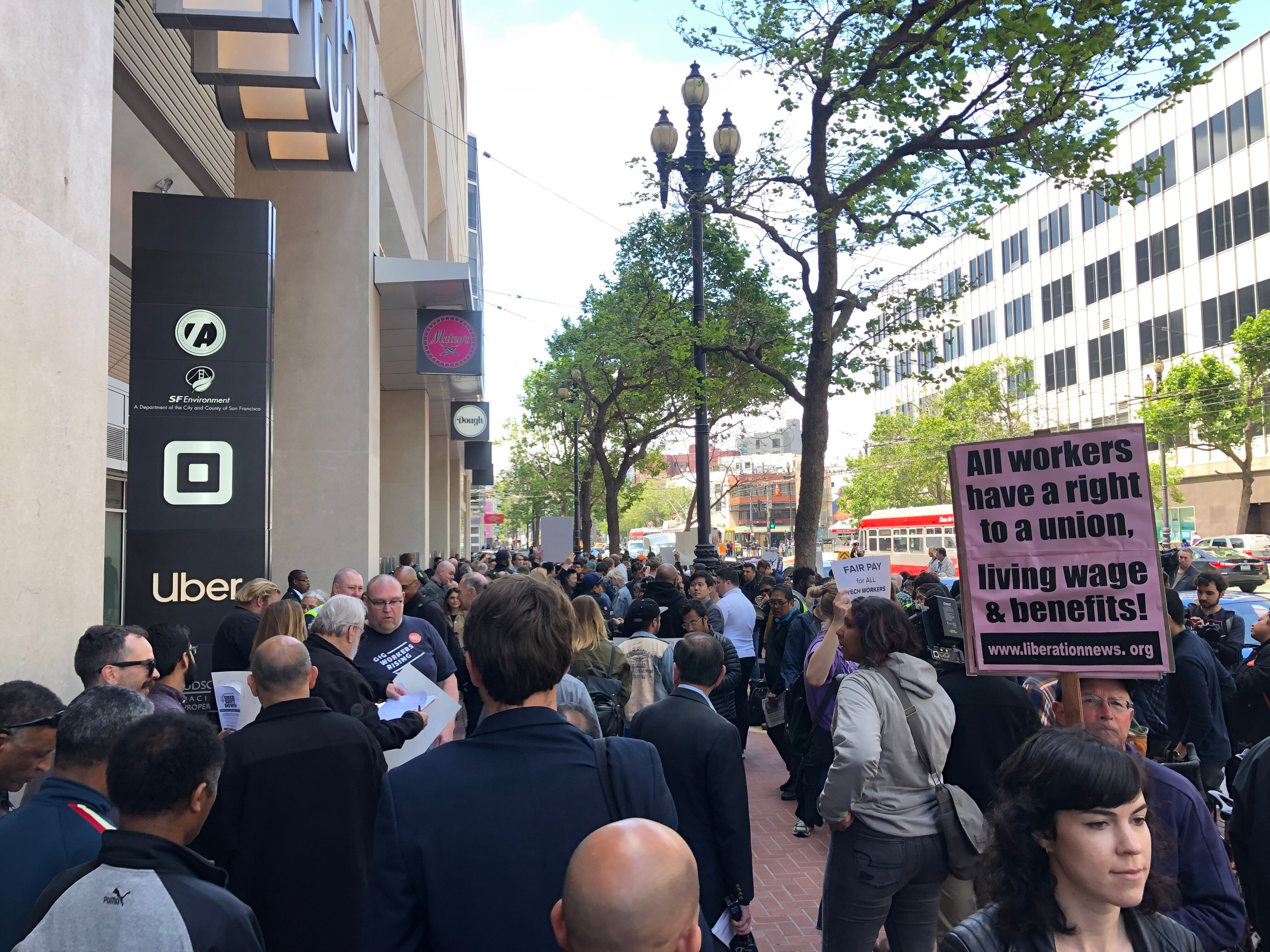 Drivers strike outside Uber's offices in San Francisco - May 8, 2019