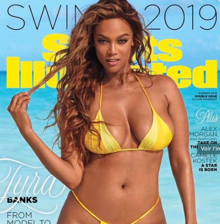 Tyra Banks en une du Sports Illustrated spécial maillots à 45