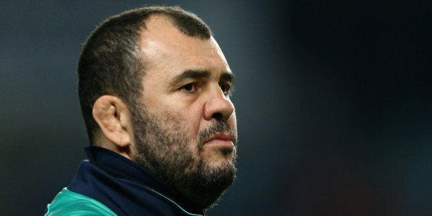 SYDNEY, AUSTRALIA - JUNE 27: Waratahs coach Michael Cheika watches his players warm up prior to the Super...