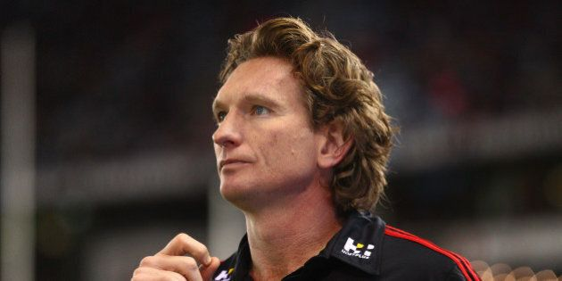 MELBOURNE, AUSTRALIA - AUGUST 15: James Hird, coach of the Essendon Bombers looks on during the round...