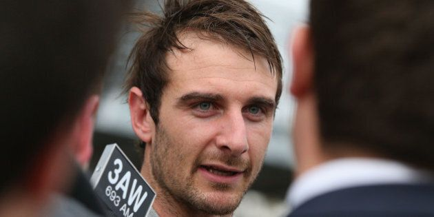 MELBOURNE, AUSTRALIA - AUGUST 18: Bombers player Jobe Watson speaks to the media after James Hird announced...