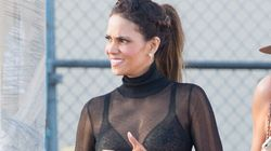 Halle Berry Shows Off Her Bra In A Sheer