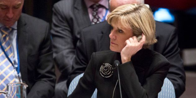 Australia's Foreign Minister Julie Bishop listens during a meeting on Iraq in the U.N. Security Council,...