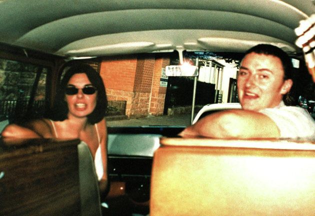 Joanne Lees and Peter Falconio pose in their van before driving to outback Australia, where Falconio...