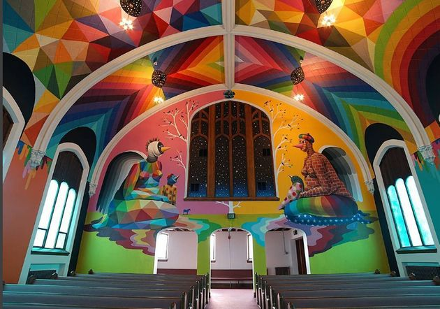 The church's colourful environs where one can become