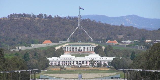 View of Old and New Parliament House Canberra taken from the Australian War Memorial. Photo taken November...