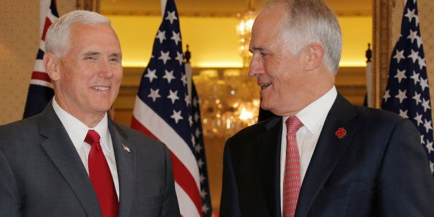 U.S. Vice President Mike Pence meets with Australia's Prime Minister Malcolm Turnbull at Admiralty House...