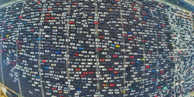 BEIJING, CHINA - OCTOBER 06: (CHINA OUT) (EDITORS NOTE: Image captured with a fisheye lens) Aerial view...