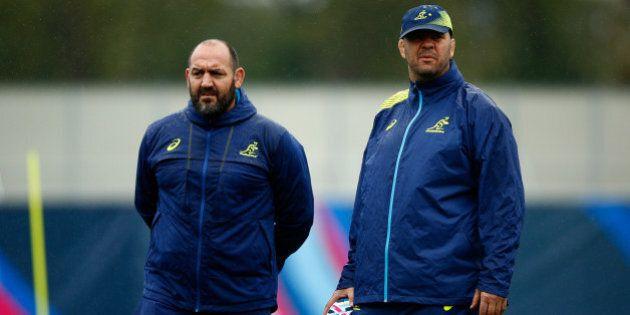 LONDON, ENGLAND - OCTOBER 05: Michael Cheika, Head Coach of Australia (r) and Mario Ledesma, Scrum Coach...