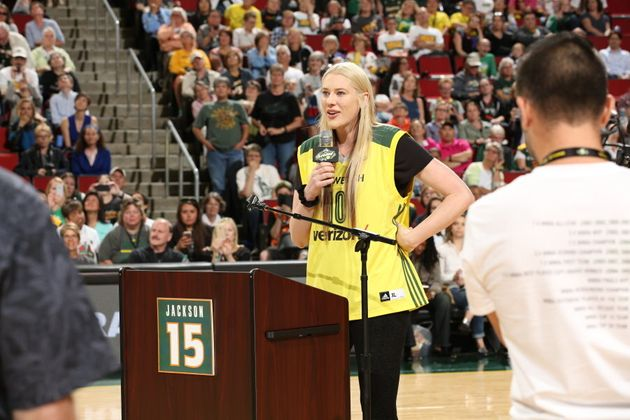The Seattle Storm retired the number 15 jersey after Australian basketball superstar Lauren Jackson retired...