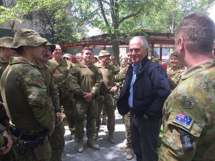 Prime Minister Malcolm Turnbull meets Australian Servicemen and women in Afghanistan.
