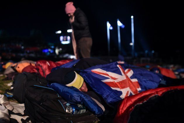 Crowds camped out in cold conditions overnight for the Dawn
