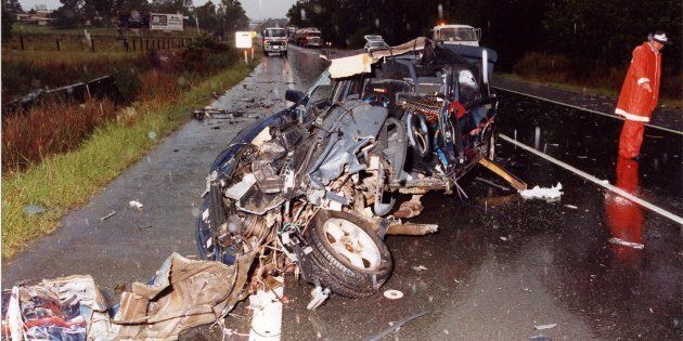 One of the many horrific car crash scenes Nationals MP Llew O'Brien attended as a road crash
