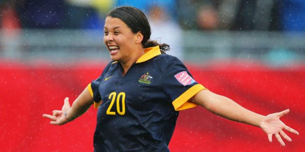 MONCTON, NB - JUNE 21: Samantha Kerr of Australia celebrates victory after the FIFA Women's World Cup...