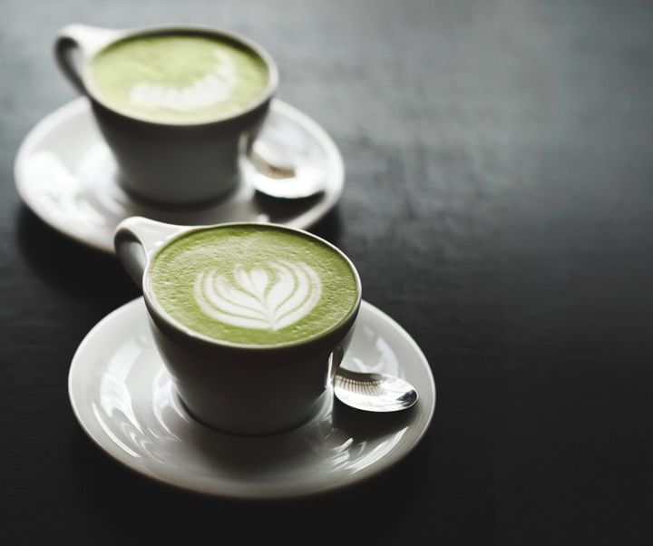 Pretty matcha latte art.