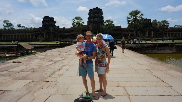 Sarah with her husband Chris and their son on their travels.