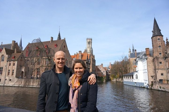 Sarah and her husband Chris in Europe.