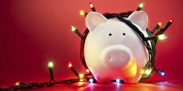 Piggy bank wrapped in Christmas string