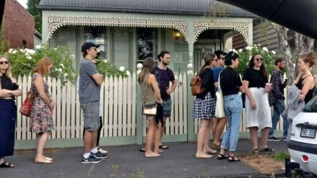 There's stiff competition for rental properties in Melbourne. More than 50 hopeful tenants queued up...