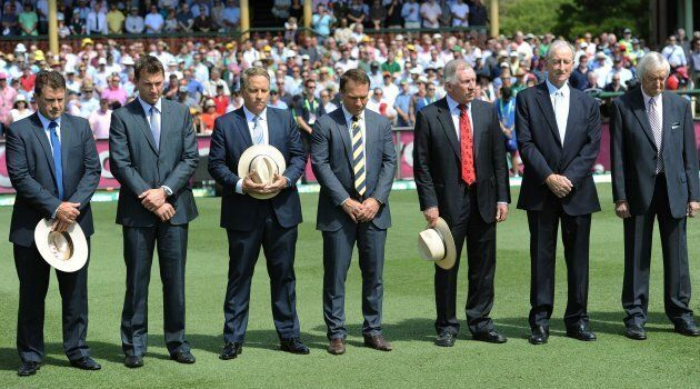 The Nine commentators observe a minute's silence in memory of Tony Greig in 2013.