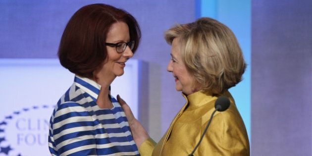 NEW YORK, NY - SEPTEMBER 24:  Former U.S. Secretary of State Hillary Clinton greets former Australian Prime Minister Julia Gillard during the Clinton Global Initiative (CGI), on September 24, 2014 in New York City. The annual meeting, established in 2005 by President Clinton, convenes global leaders to discuss solutions to world problems.  (Photo by John Moore/Getty Images)