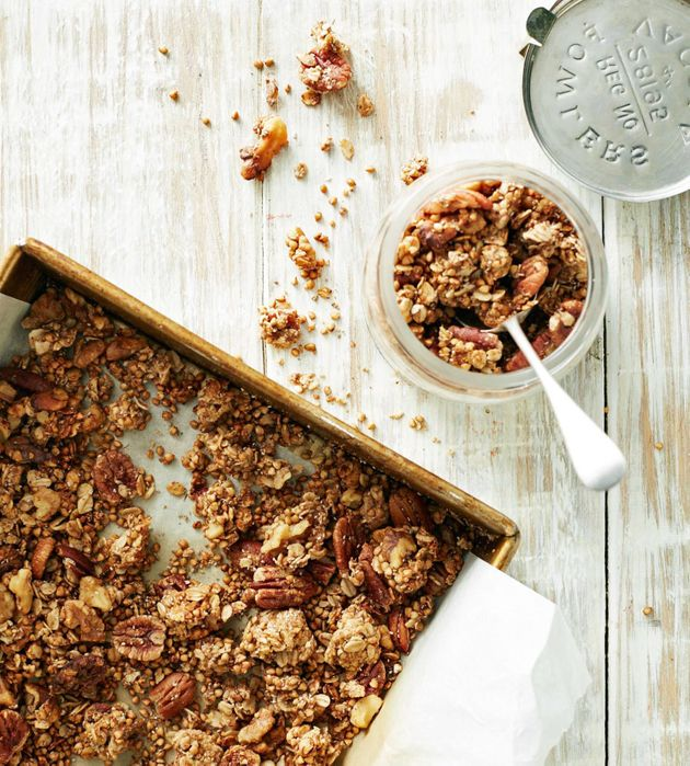 This crunchy granola is full of nutty clusters and goes perfectly with yoghurt and