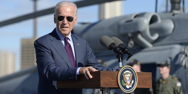 Joe Biden, Vice President of the United States of America addresses ADF personnel on board the HMAS Adelaide...