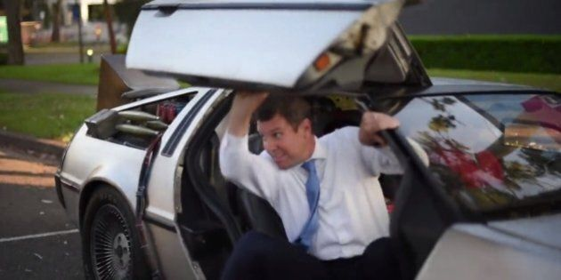 NSW Premier Mike Baird Rolled Into Work In A DeLorean For Back To The Future