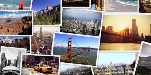 Travel collage of images from USA - new york, boston,chicago,los angeles, miami,new orleans,las