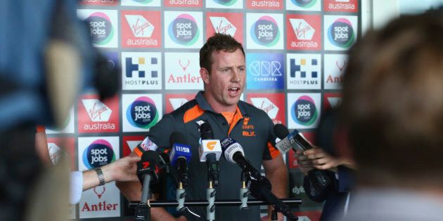 SYDNEY, AUSTRALIA - OCTOBER 21: Steve Johnson of the Giants speaks to the media during a Greater Western...