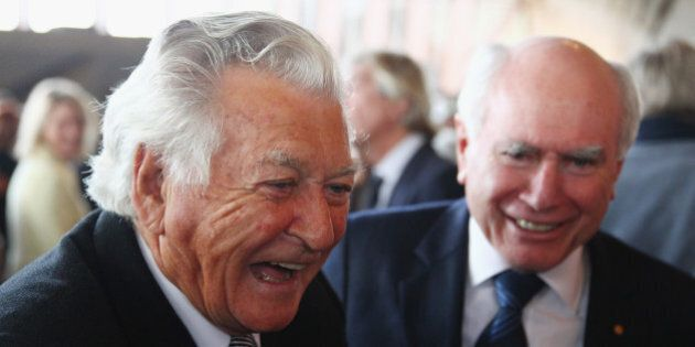 SYDNEY, AUSTRALIA - JUNE 25: Bob Hawke talks with John Howard as they attend a state memorial service...