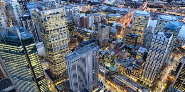 View of Sydney Business District at dusk, Sydney, New South Wales,