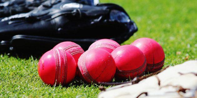 HAMILTON, NEW ZEALAND - OCTOBER 08: New pink cricket balls are seen during a New Zealand cricket training...