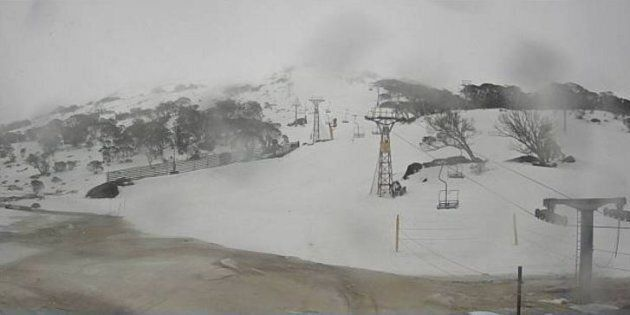The bottom of the Mt Perisher double chairlift. Normally you ski onto the lift through the area where...
