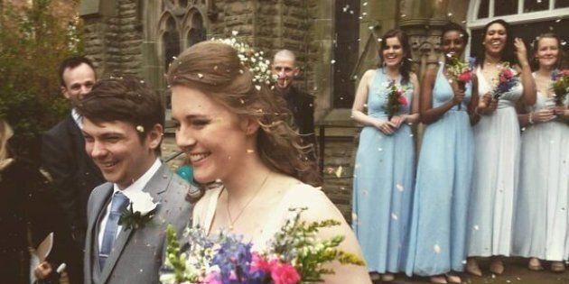 The bride and groommet in 2014 when they were both interning in Durham, England.