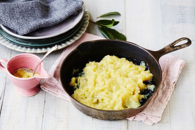 The sweetness of apple sauce helps cut through the fatty roast to create a balanced