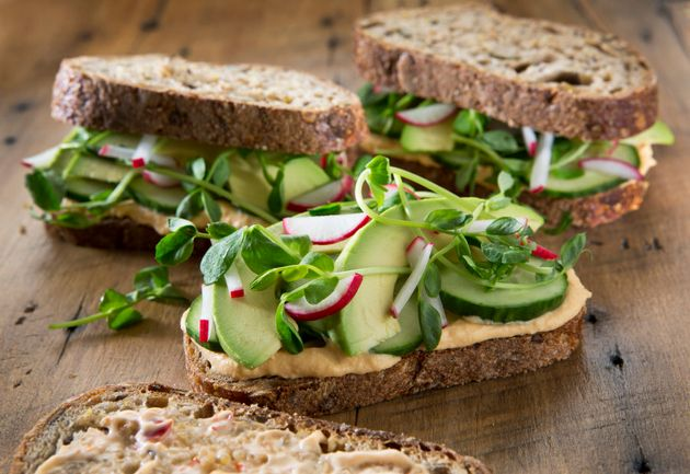 Use hummus as your sandwich spread and squeeze in as many salad veggies as