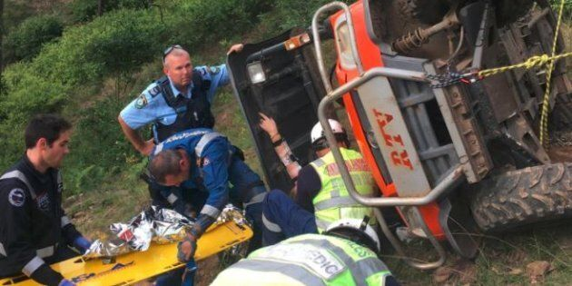 Emergency services were called in to rescue the girl's mother from underneath the utility vehicle, which had pinned her to the ground.