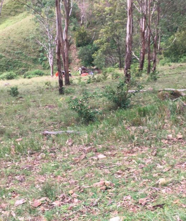 The steep slope which the RTV rolled down, and which the 4-year-old climbed down to reach her injured mother.
