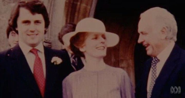 Malcolm and Lucy Turnbull on their wedding day with Bruce Turnbull.