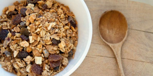 Bowl of organic muesli with nuts and