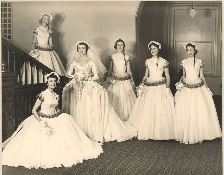 Betty McInerney  with her bridal party.