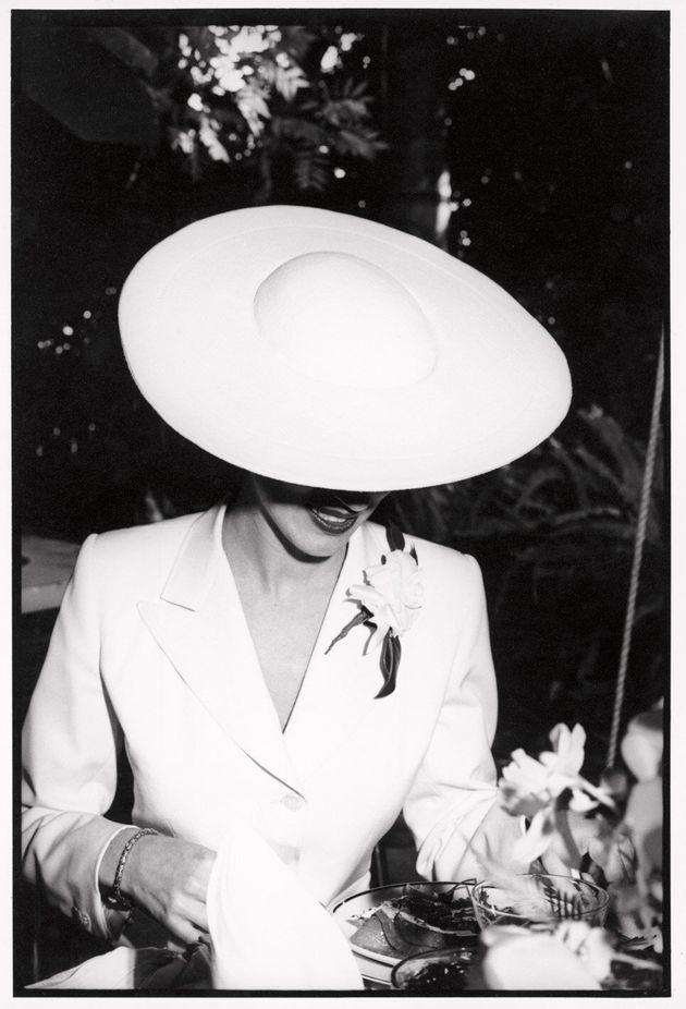 Alexandra Joel wears a suit designed by Robert Burton to her wedding in