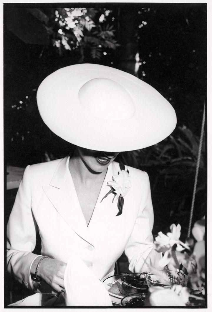 Alexandra Joel wears a suit designed by Robert Burton to her wedding in 1979.
