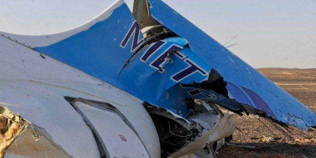 This image released by the Prime Minister's office shows the tail of a Metrojet plane that crashed in...